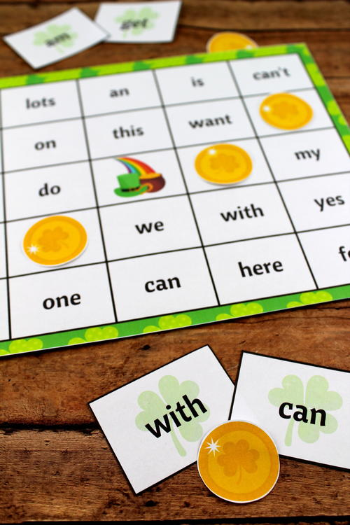 St. Patrick's Day Sight Word Printable Bingo Game