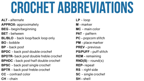 Crochet Abbreviations Guide
