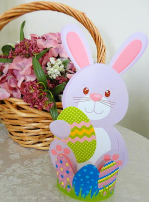 photograph relating to Printable Easter Decorations identified as Easter Bunny 3D Decoration Printable