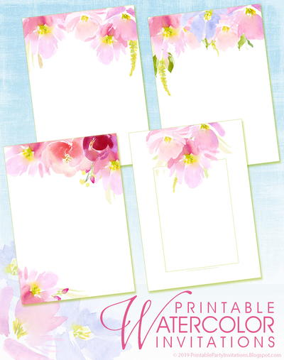Printable Floral Watercolor Invitations
