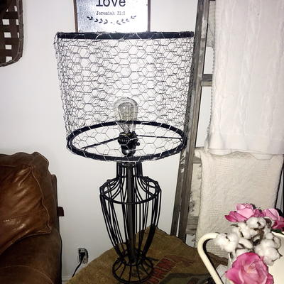Step by Step Learn the Easiest Farmhouse DIY Lampshade Makeover Out of Chicken Wire