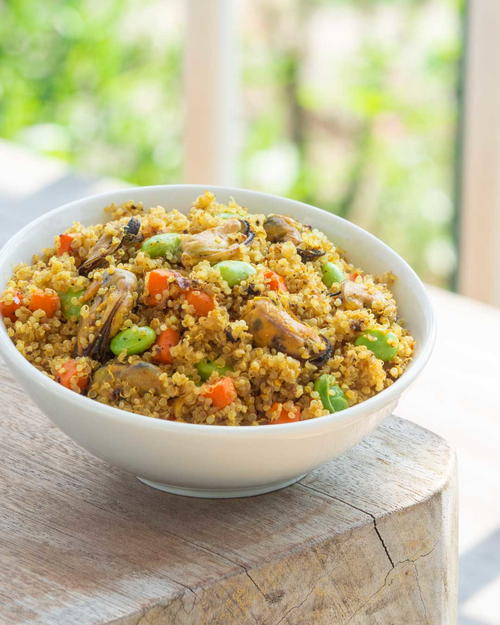 Curry Fried Quinoa with Mussels