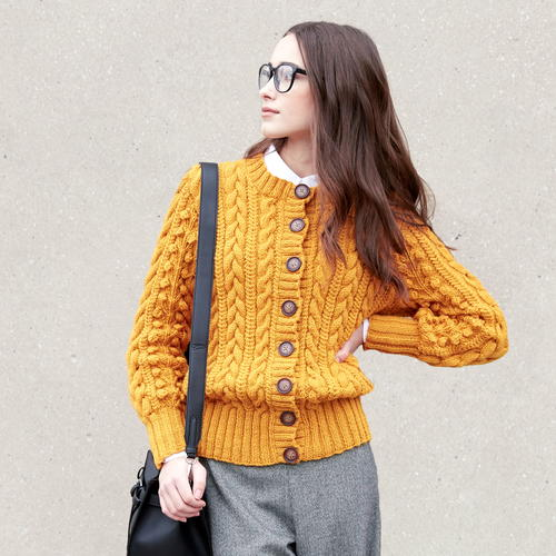 Cabled Mustard Knit Cardigan Pattern |