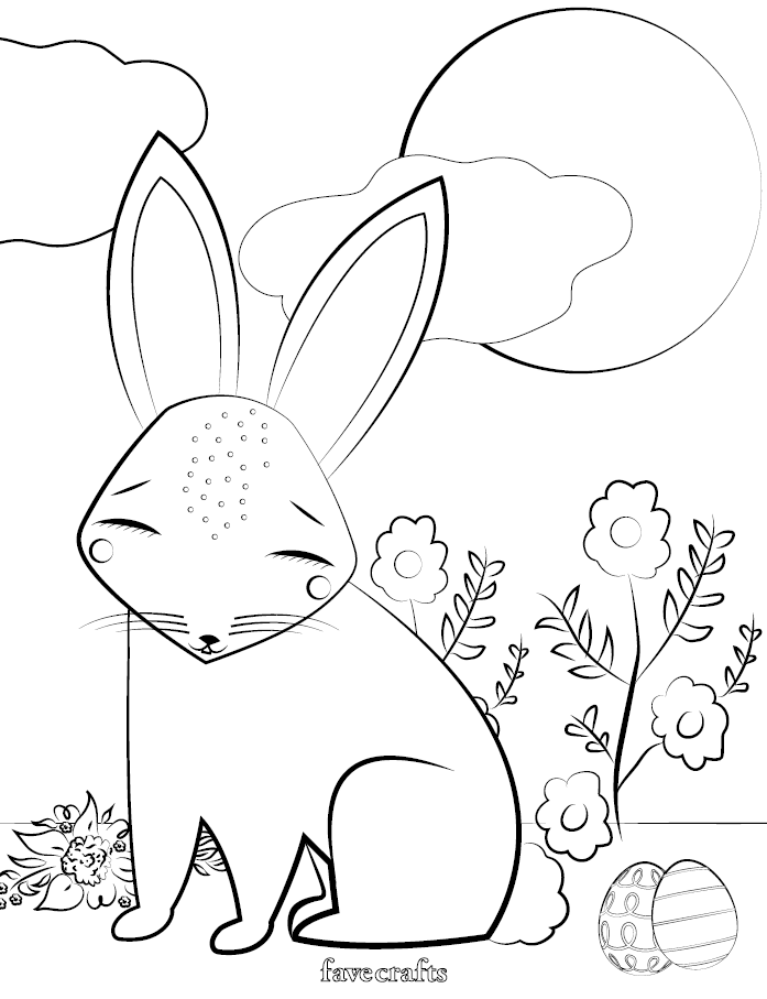 Free Printable Easter Bunny Coloring Page | FaveCrafts.com