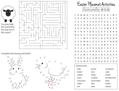 Free Printable Activity Placemats for Easter