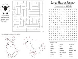 photo relating to Printable Placemat known as Absolutely free Printable Game Placemats for Easter