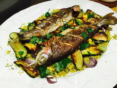 Trout with Courgette and Cauliflower Couscous