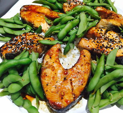 Salmon Teriyaki with Edamame and Rice