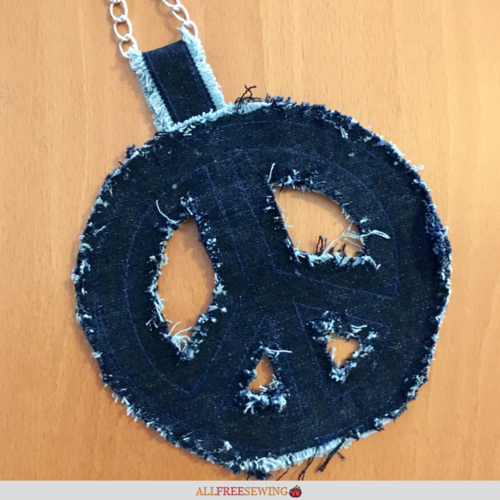 How to Make a Peace Sign Necklace from Denim