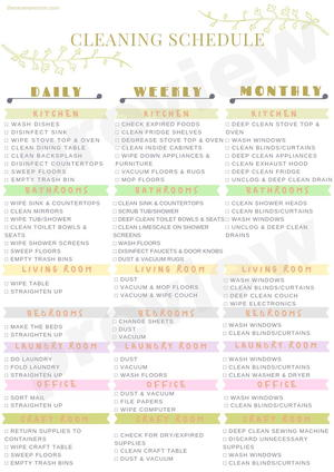 It is a graphic of Printable Cleaning Schedule for business