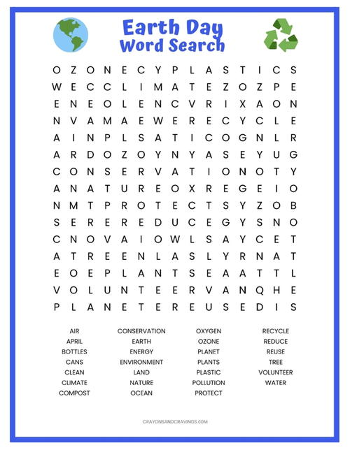 photo about Earth Day Word Search Printable known as Globe Working day Term Appear Printable