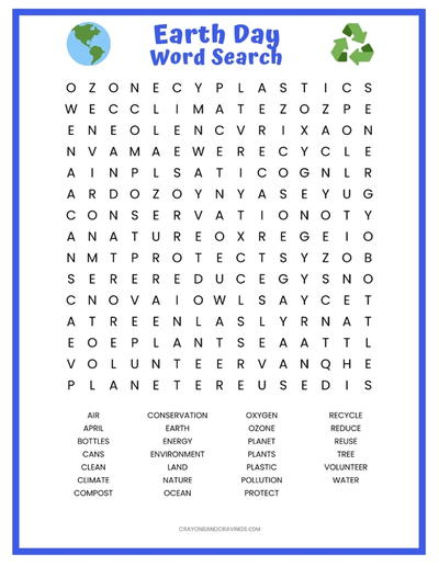 picture regarding Word Searches for Kids Printable named Planet Working day Term Glance Printable