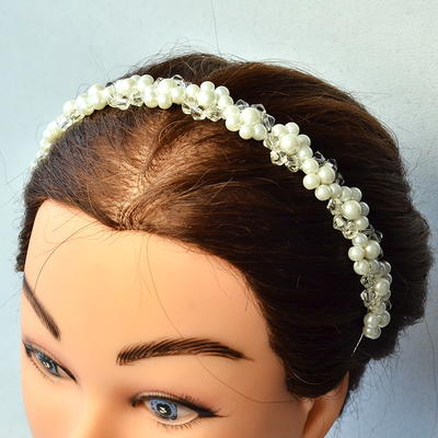 Beebeecraft Tutorials on Making a Wedding Headband with Pearl Beads and Crystal Glass Beads