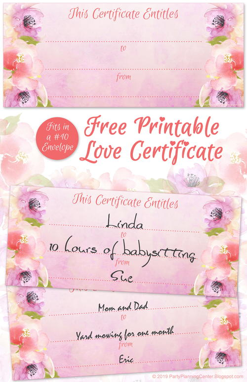 Printable Valentine's Day Love Certificate