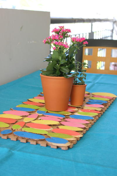 DIY Colored Painted Wooden Table Runner