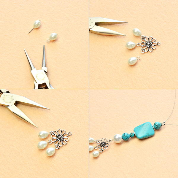 Beebeecraft Pearl Necklace Design – How to Make a 2-Strand Pearl And Turquoise Beaded Necklace