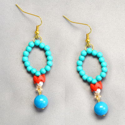 Learn from Beebeecraft How to Make Elegant Green Beaded Hoop Earrings with Turquoise Beads