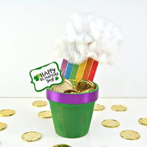 End of the Rainbow Pot of Gold Flower Pot Decor