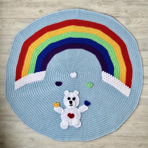 Love Bear Rainbow Baby Blanket