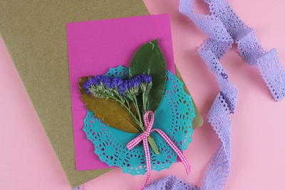 Handmade Wishing Cards with Flowers and Leaves