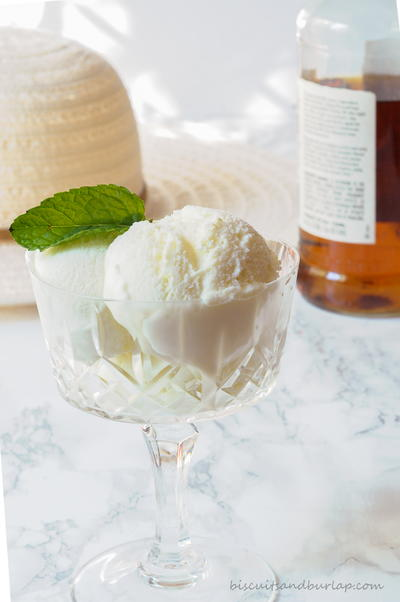 Mint Julep Ice Cream with Bourbon Sauce