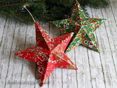 Decoupage Christmas Star Ornaments