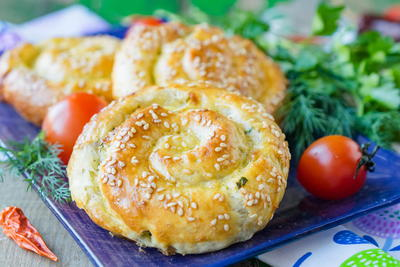 Sulguni Cheese and Greenery Puffs