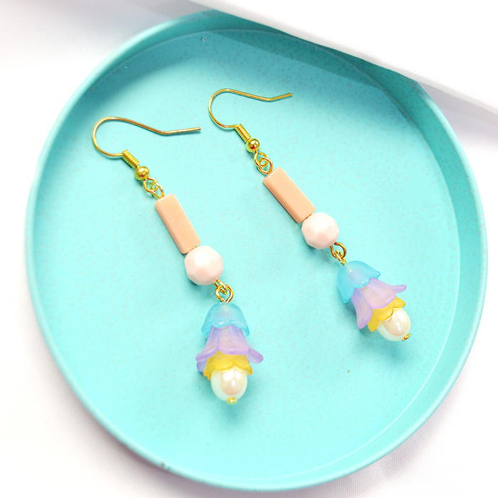Green Frosted Glass and Wood Bead Earrings