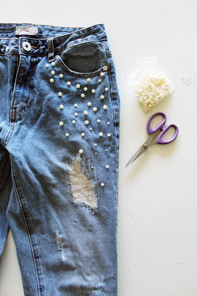 Make Your Own Pearl Accent Jeans