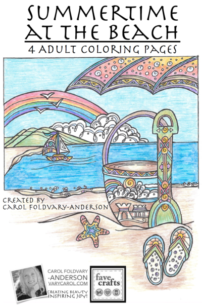 Summertime at the Beach: 4 Beach Coloring Pages for Adults