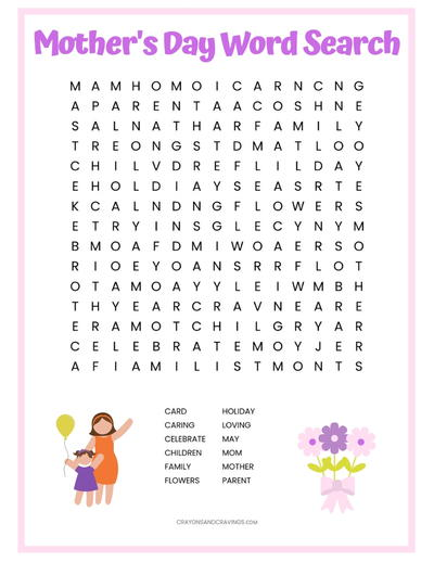 Mother's Day Word Search Printable