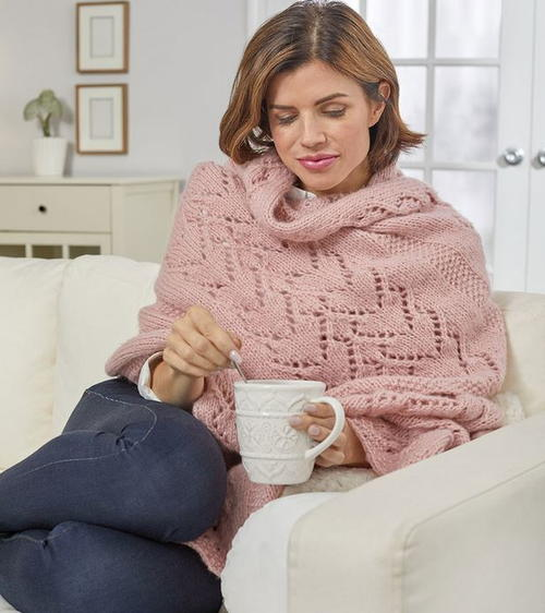 Warming Hearts Knitted Shawl Wrap