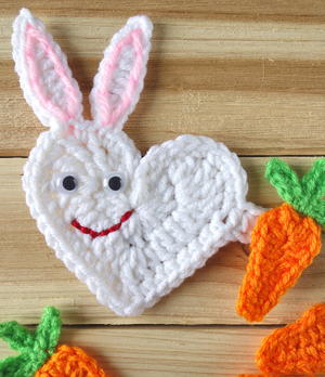Heart Easter Bunny Applique