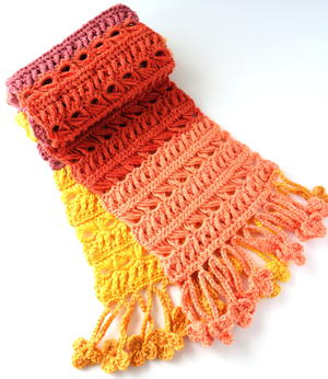 Sunset Flame Crochet Scarf