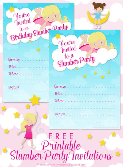 Printable Sleepover Party Invitations