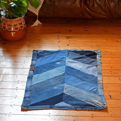 Upcycled Denim Chevron Rug