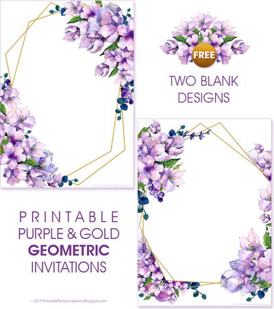 Printable Purple Watercolor Wedding Invitations