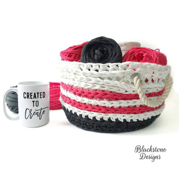 Nautical T-Shirt Yarn Basket
