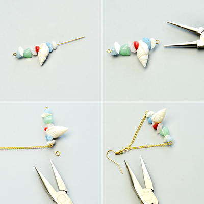 Easy Beebeecraft Tutorial on How to Make a Pair of Chip Gemstone Bead Chain Earrings