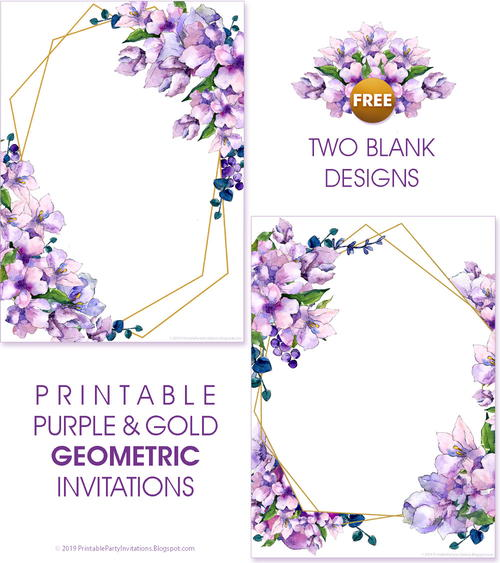 Printable Purple Watercolor Invitations