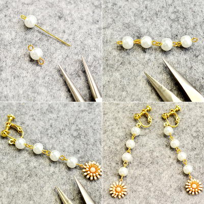 Beebeecraft Tutorial on How to Make a Pair of Glass pearl Dangle Earrings