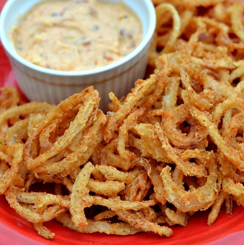 Onion Straws with Chipotle Pepper Aioli