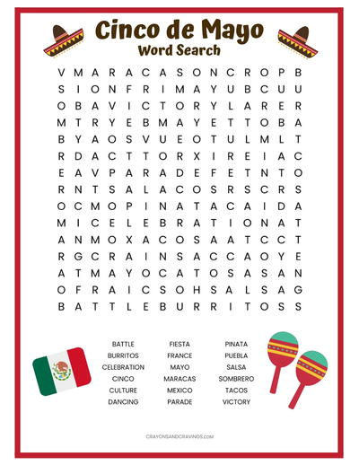 Cinco DE Mayo Word Search Free Printable