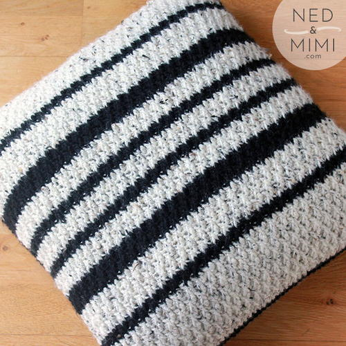 Black & White Crochet Throw Pillow