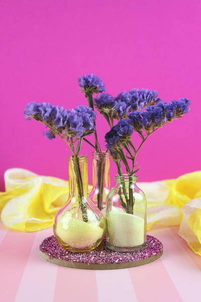Simple Flower Vase with Glitter and Small Bottles