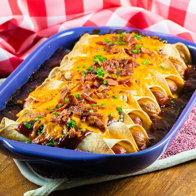 BBQ Tortilla Hot Dog Casserole