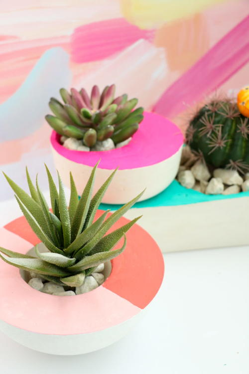 Colorful DIY Concrete Planters