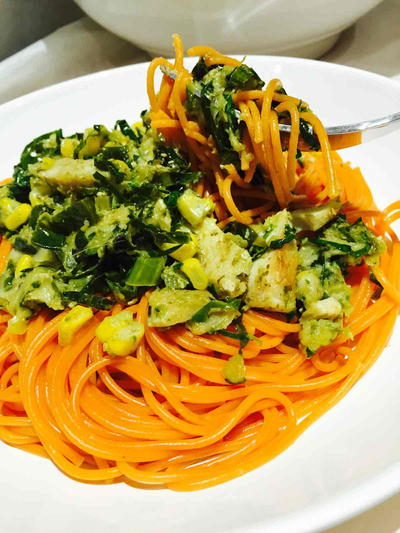 Quinoa Pasta with Courgette and Pesto Sauce