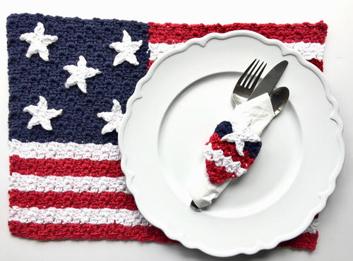 American Flag Placemat and Napkin Ring