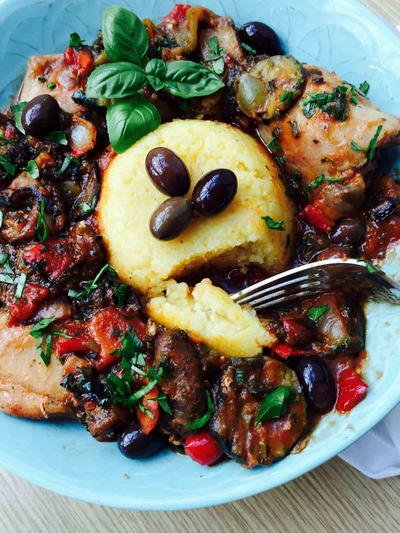 Mixed Grilled Veggies Polenta and Chicken Casserole